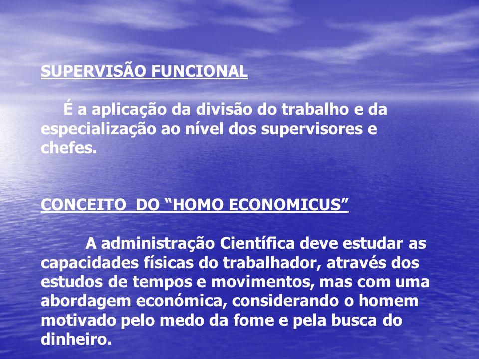 SUPERVISÃO FUNCIONAL É a aplicação da divisão do trabalho e da especialização ao nível dos supervisores e chefes. CONCEITO DO HOMO ECONOMICUS A admini