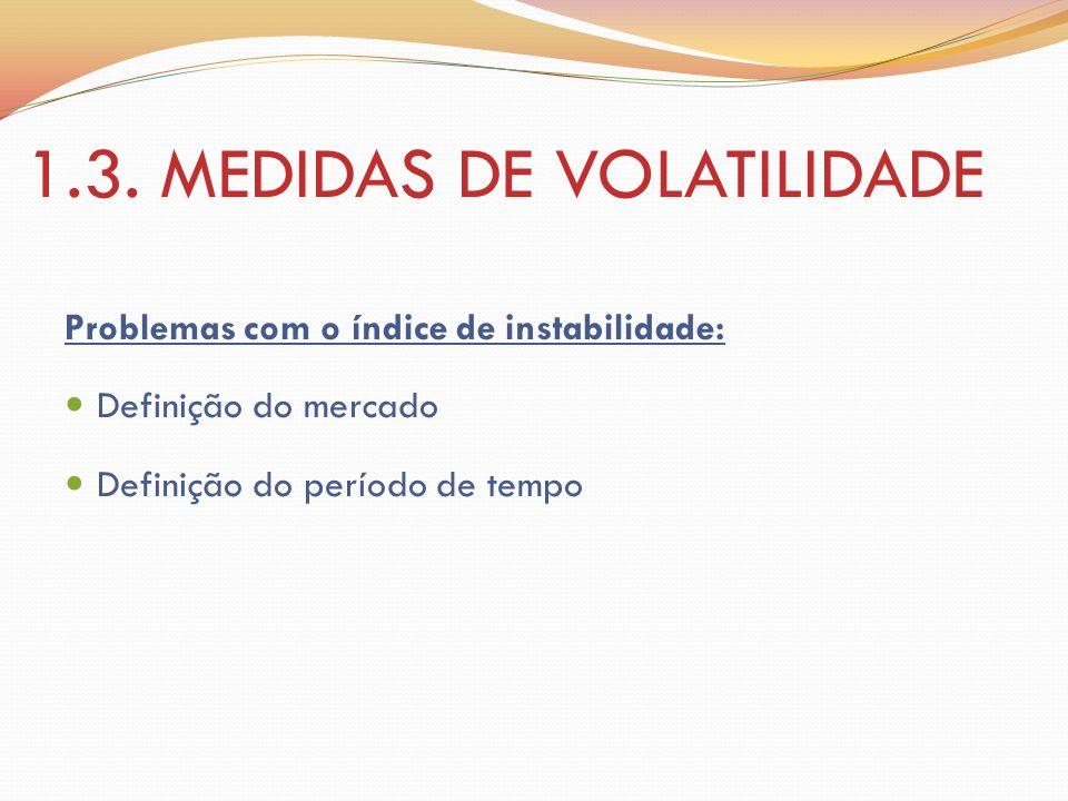 1.3. MEDIDAS DE VOLATILIDADE Problemas com o índice de instabilidade: Definição do mercado Definição do período de tempo