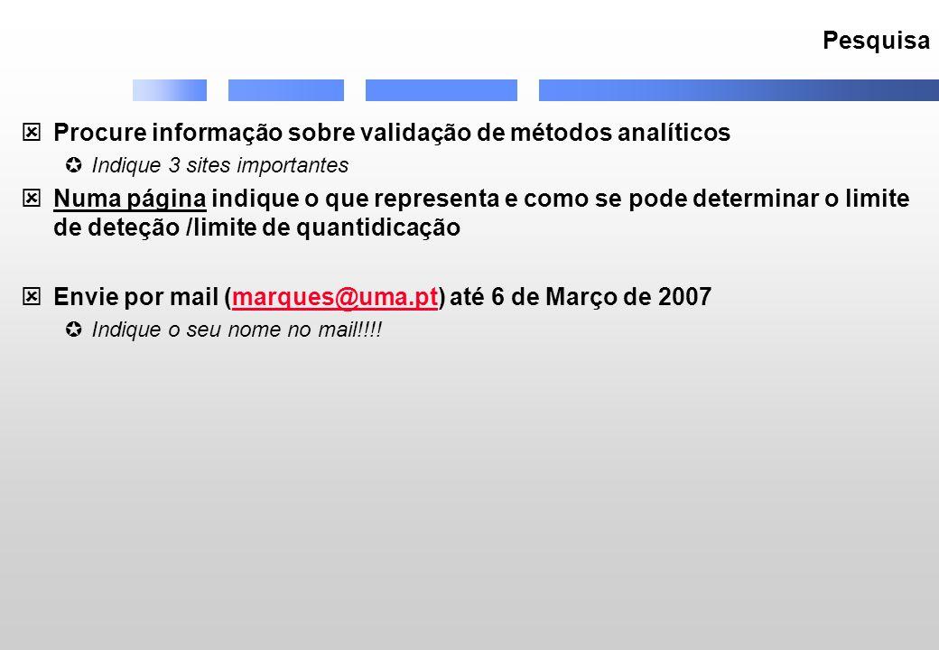 Pesquisa Procure informação sobre validação de métodos analíticos Indique 3 sites importantes Numa página indique o que representa e como se pode dete