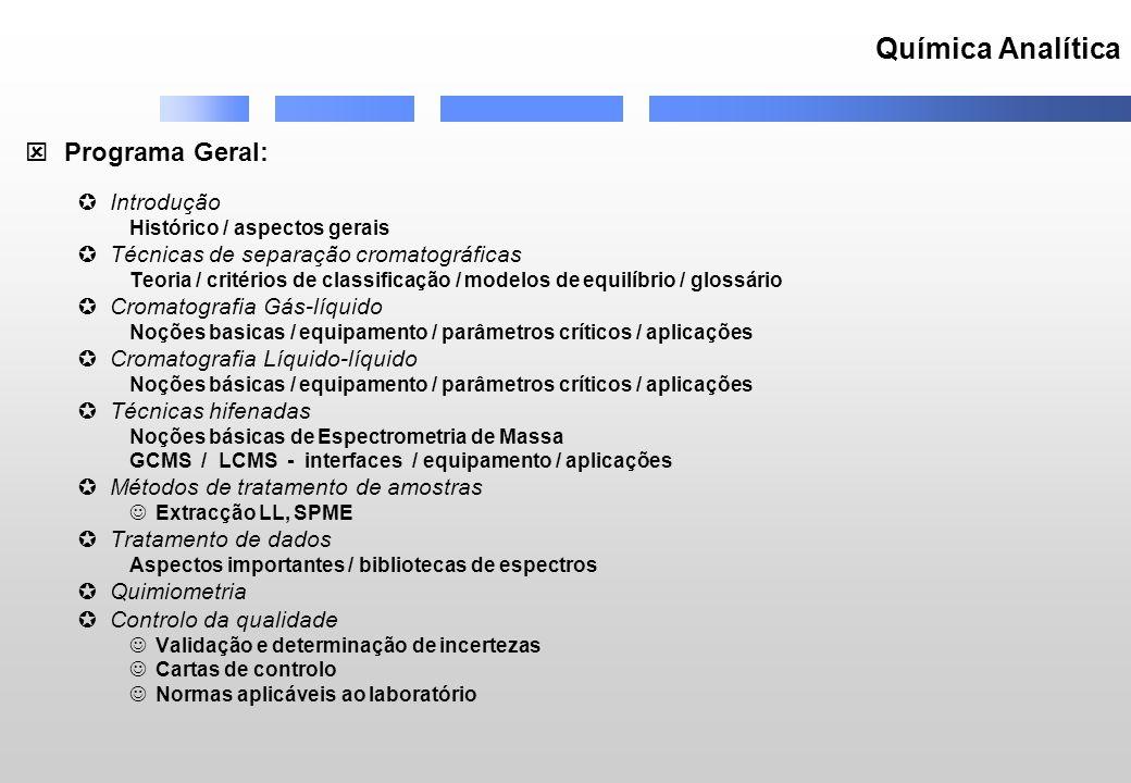 Química Analítica Programa Geral: Introdução Histórico / aspectos gerais Técnicas de separação cromatográficas Teoria / critérios de classificação / m