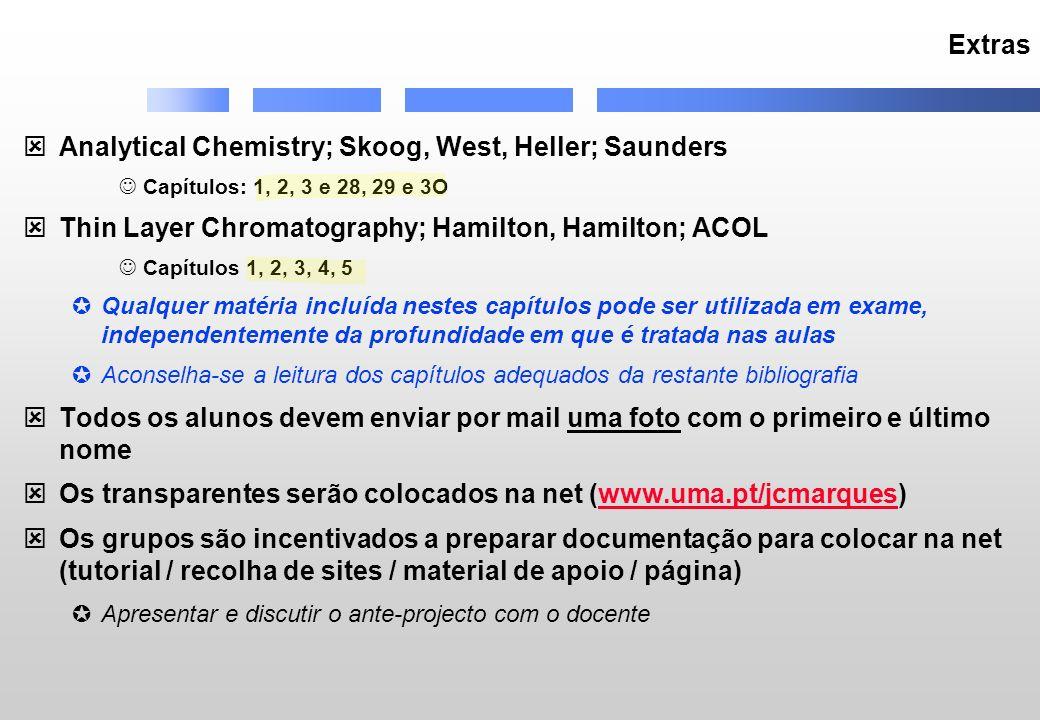 Extras Analytical Chemistry; Skoog, West, Heller; Saunders Capítulos: 1, 2, 3 e 28, 29 e 3O Thin Layer Chromatography; Hamilton, Hamilton; ACOL Capítu