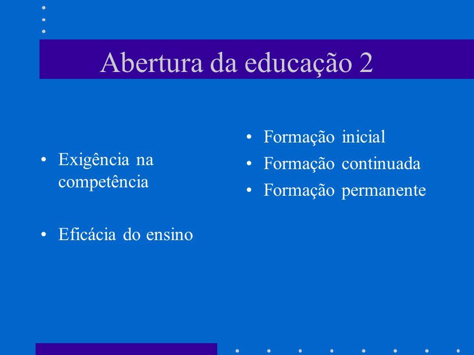 Abertura da educação 2 Exigência na competência Eficácia do ensino Formação inicial Formação continuada Formação permanente