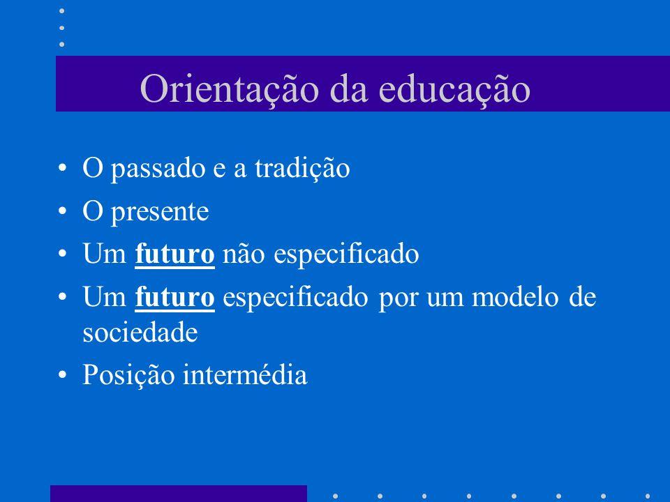 Orientação da educação O passado e a tradição O presente Um futuro não especificado Um futuro especificado por um modelo de sociedade Posição interméd
