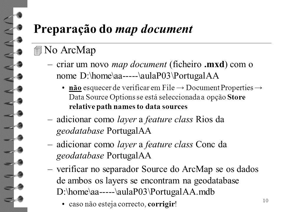 Preparação do map document 4 No ArcMap –criar um novo map document (ficheiro.mxd) com o nome D:\home\aa-----\aulaP03\PortugalAA não esquecer de verifi