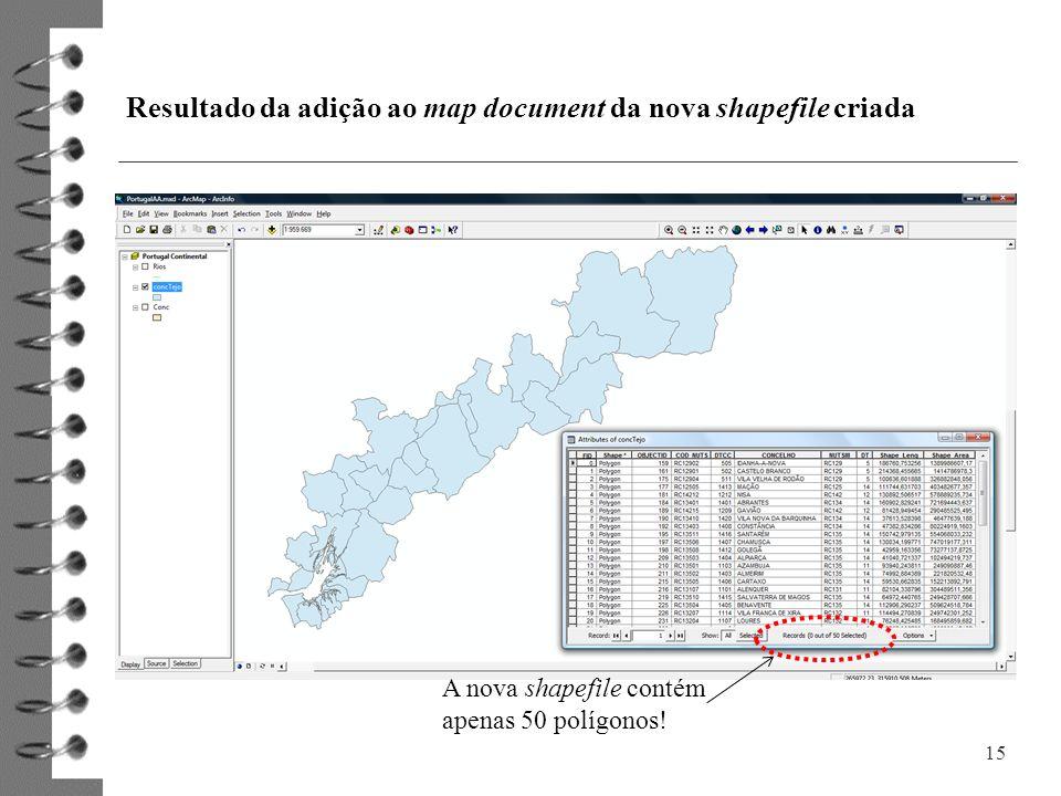 Resultado da adição ao map document da nova shapefile criada 15 A nova shapefile contém apenas 50 polígonos!