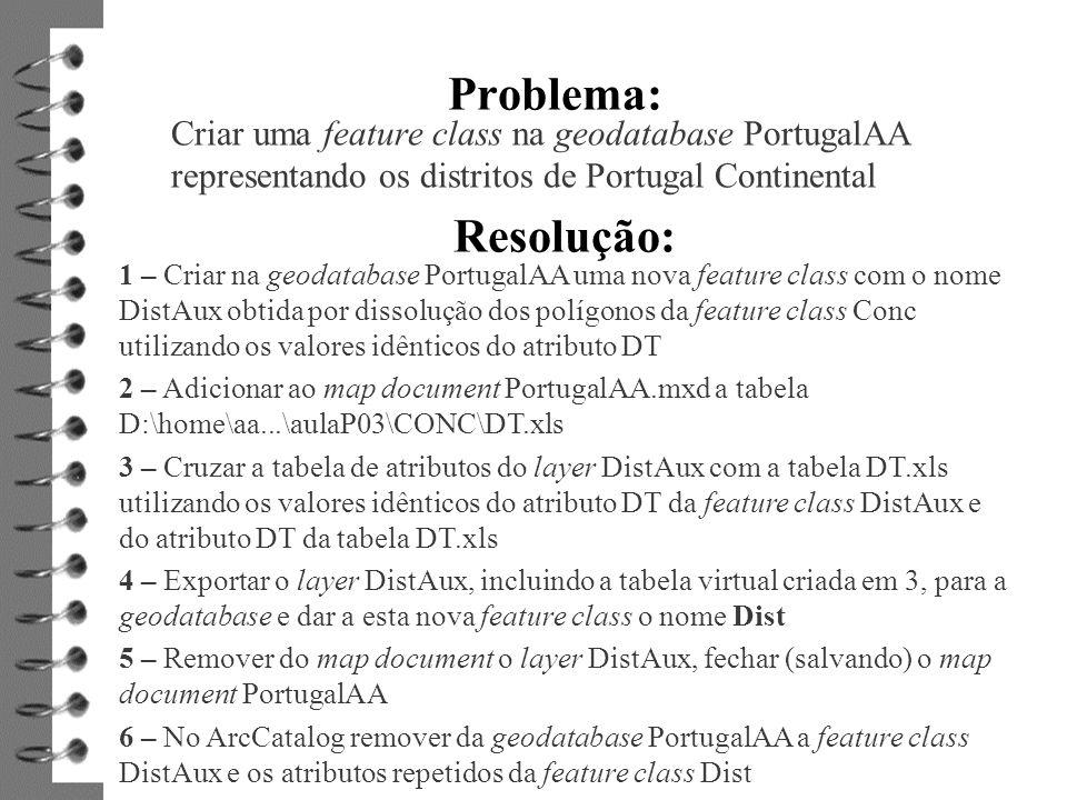 Problema: Criar uma feature class na geodatabase PortugalAA representando os distritos de Portugal Continental Resolução: 1 – Criar na geodatabase Por