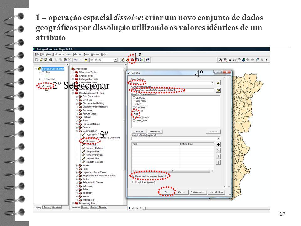 1 – operação espacial dissolve: criar um novo conjunto de dados geográficos por dissolução utilizando os valores idênticos de um atributo 17 2º Selecc