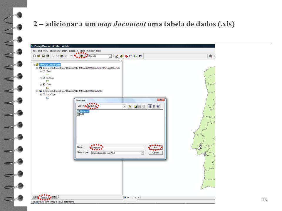 2 – adicionar a um map document uma tabela de dados (.xls) 19
