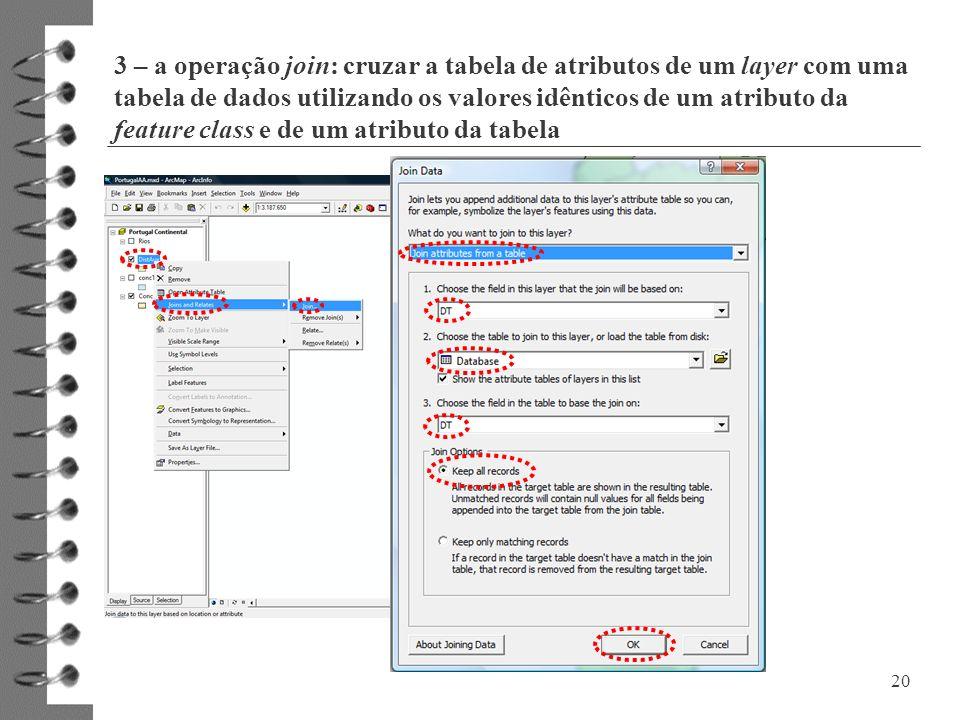 3 – a operação join: cruzar a tabela de atributos de um layer com uma tabela de dados utilizando os valores idênticos de um atributo da feature class