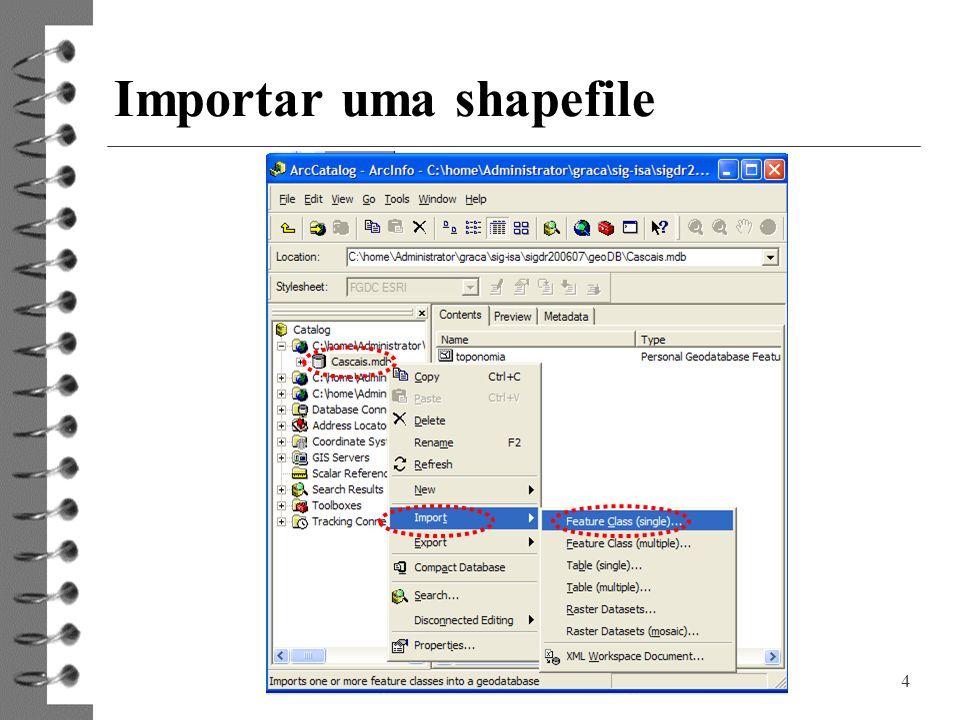 4 Importar uma shapefile