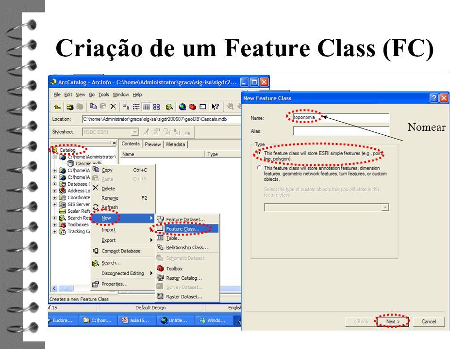 5 Criação de um Feature Class (FC) Nomear