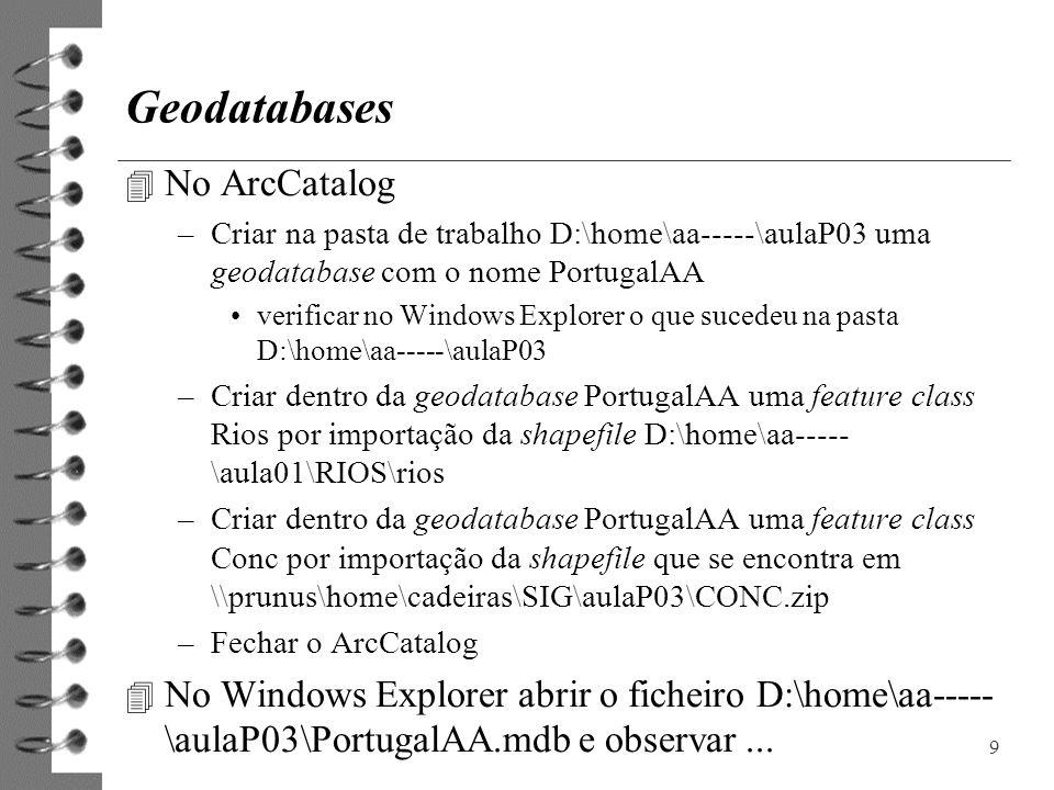Geodatabases 4 No ArcCatalog –Criar na pasta de trabalho D:\home\aa-----\aulaP03 uma geodatabase com o nome PortugalAA verificar no Windows Explorer o
