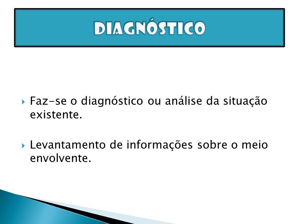 Faz-se o diagnóstico ou análise da situação existente. Levantamento de informações sobre o meio envolvente.