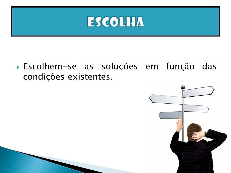 Escolhem-se as soluções em função das condições existentes.