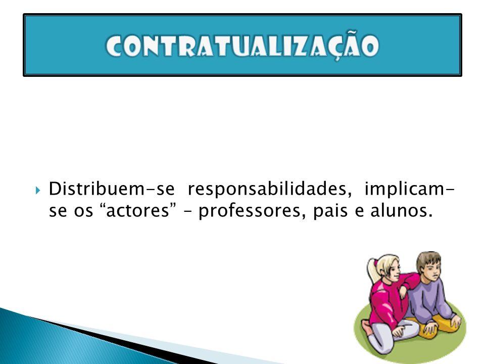 Distribuem-se responsabilidades, implicam- se os actores – professores, pais e alunos.