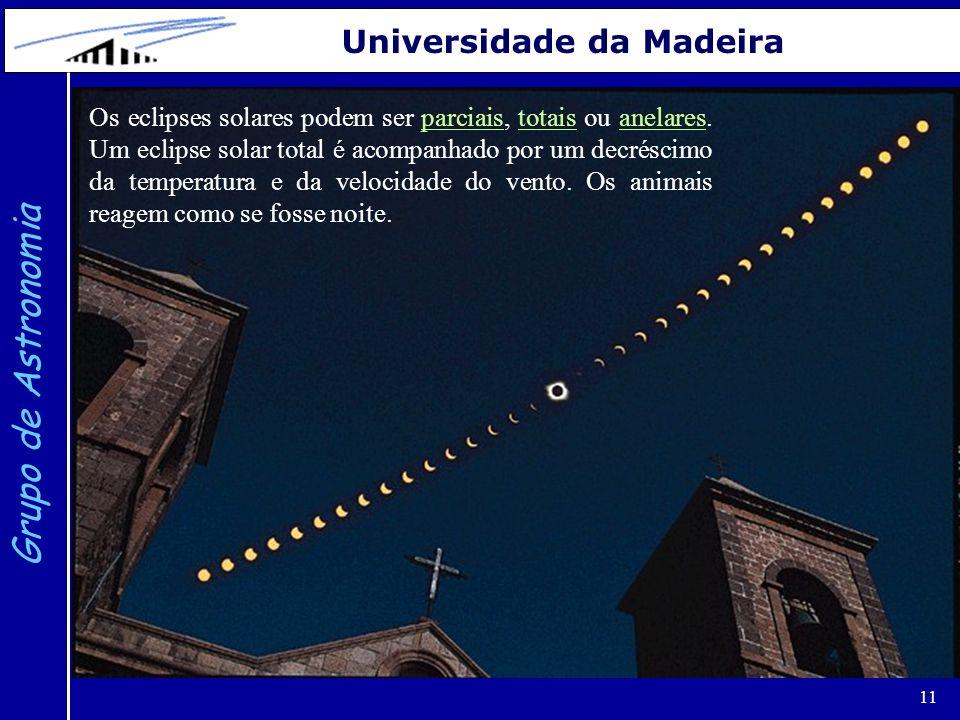 11 Grupo de Astronomia Universidade da Madeira Os eclipses solares podem ser parciais, totais ou anelares. Um eclipse solar total é acompanhado por um