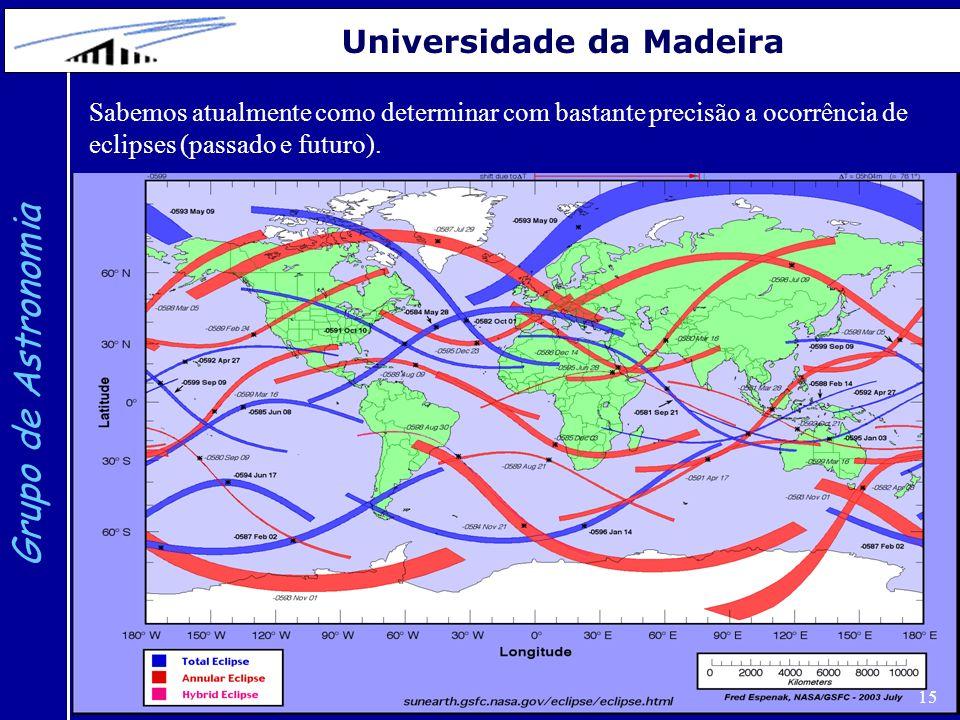15 Grupo de Astronomia Universidade da Madeira Sabemos atualmente como determinar com bastante precisão a ocorrência de eclipses (passado e futuro).