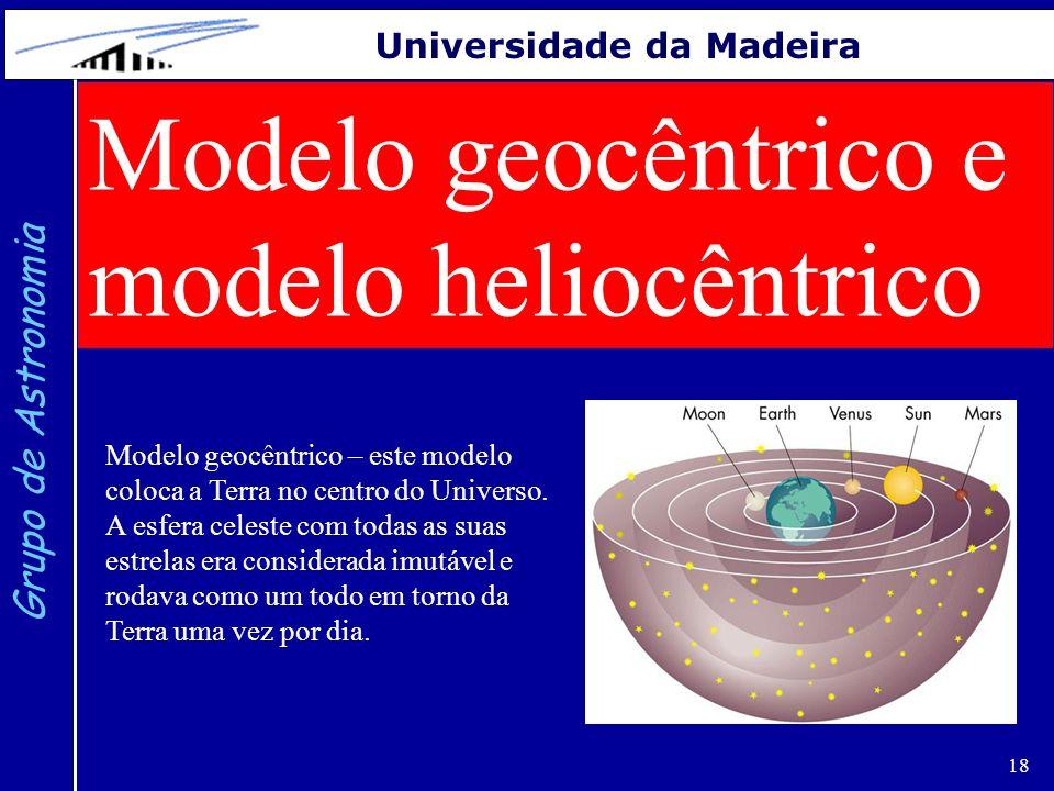 18 Grupo de Astronomia Universidade da Madeira Modelo geocêntrico e modelo heliocêntrico Modelo geocêntrico – este modelo coloca a Terra no centro do