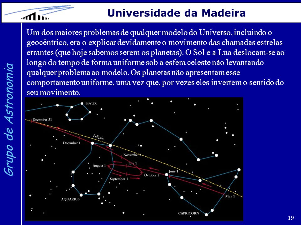 19 Grupo de Astronomia Universidade da Madeira Um dos maiores problemas de qualquer modelo do Universo, incluindo o geocêntrico, era o explicar devida