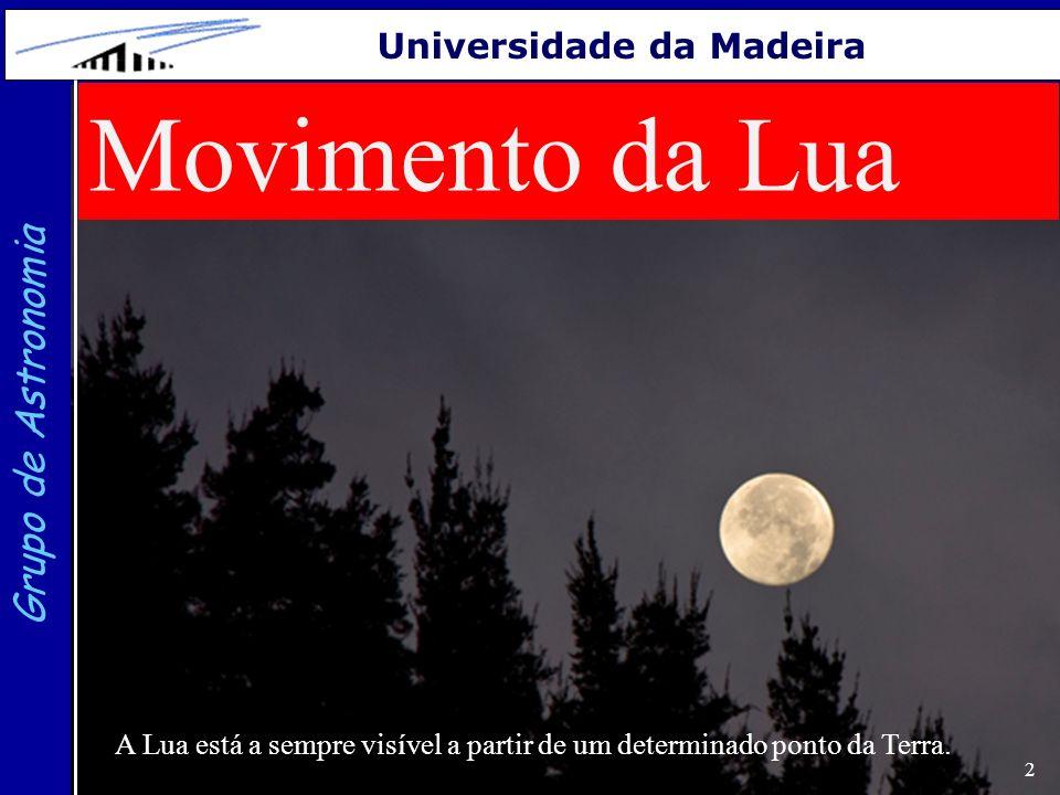 2 Grupo de Astronomia Universidade da Madeira Movimento da Lua A Lua está a sempre visível a partir de um determinado ponto da Terra.