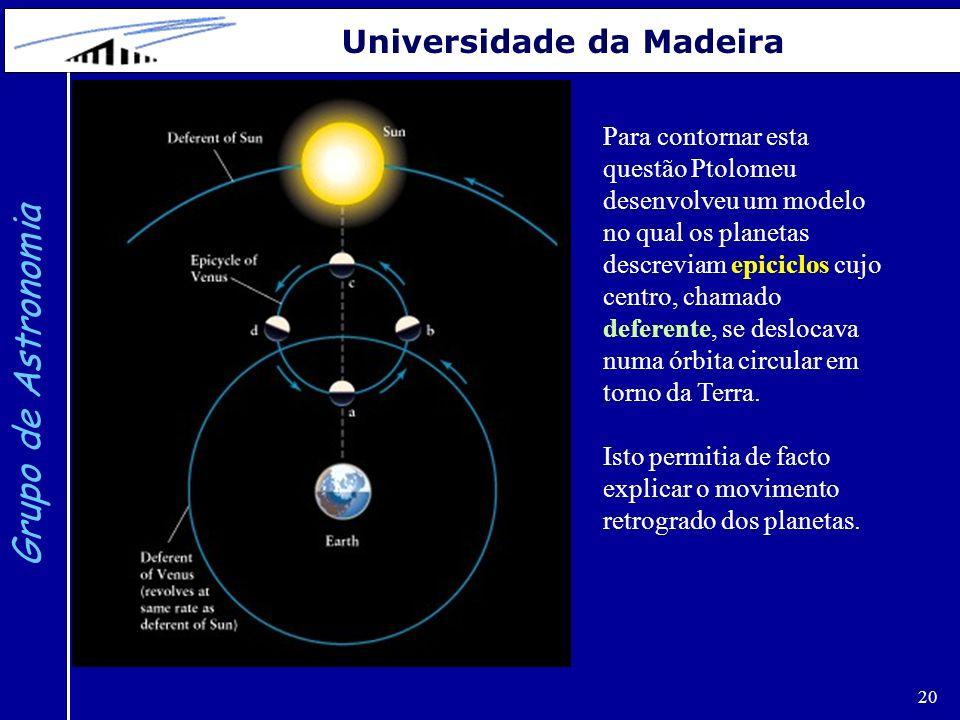 20 Grupo de Astronomia Universidade da Madeira Para contornar esta questão Ptolomeu desenvolveu um modelo no qual os planetas descreviam epiciclos cuj
