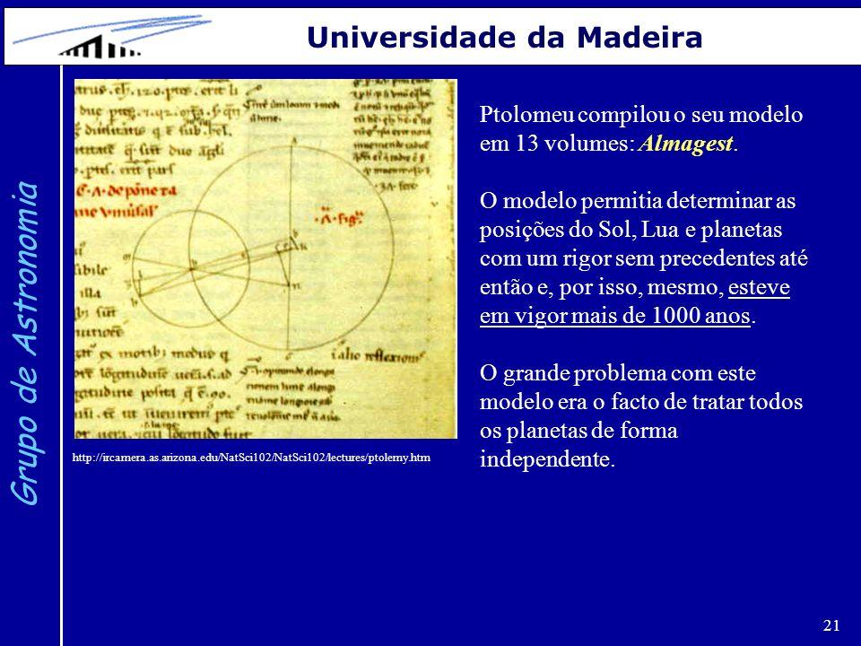 21 Grupo de Astronomia Universidade da Madeira Ptolomeu compilou o seu modelo em 13 volumes: Almagest. O modelo permitia determinar as posições do Sol