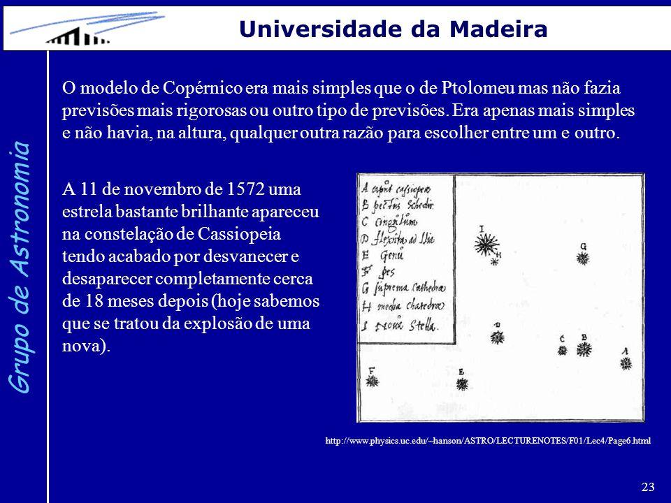 23 Grupo de Astronomia Universidade da Madeira O modelo de Copérnico era mais simples que o de Ptolomeu mas não fazia previsões mais rigorosas ou outr