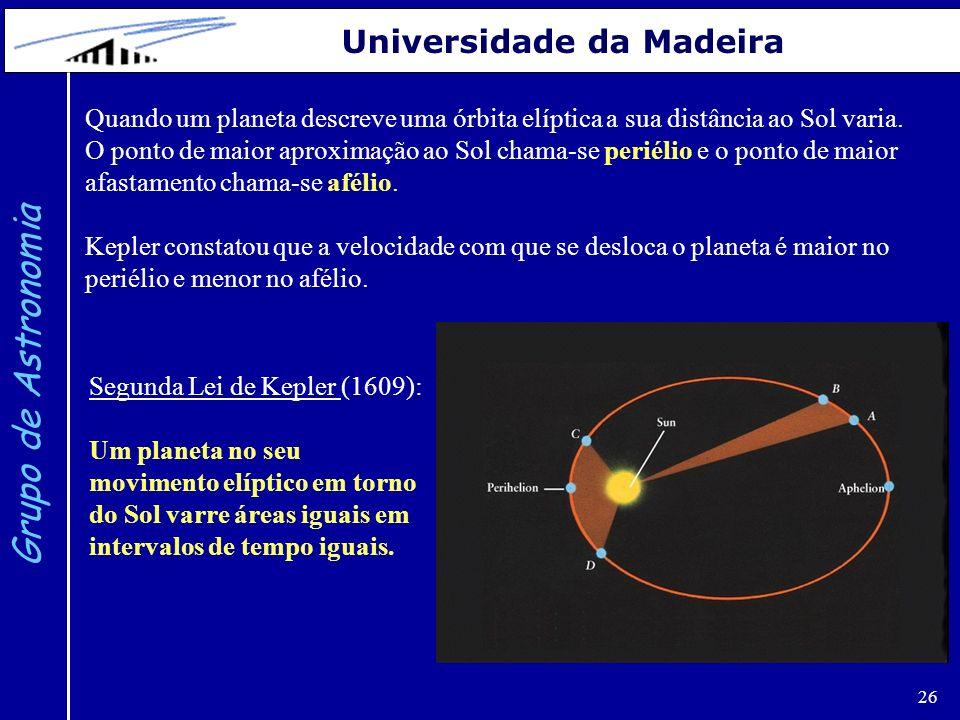 26 Grupo de Astronomia Universidade da Madeira Quando um planeta descreve uma órbita elíptica a sua distância ao Sol varia. O ponto de maior aproximaç