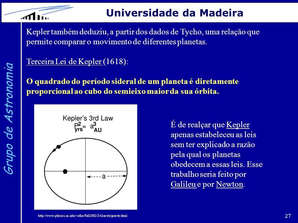 27 Grupo de Astronomia Universidade da Madeira Kepler também deduziu, a partir dos dados de Tycho, uma relação que permite comparar o movimento de dif