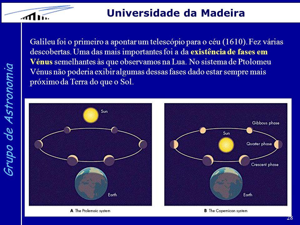 28 Grupo de Astronomia Universidade da Madeira Galileu foi o primeiro a apontar um telescópio para o céu (1610). Fez várias descobertas. Uma das mais