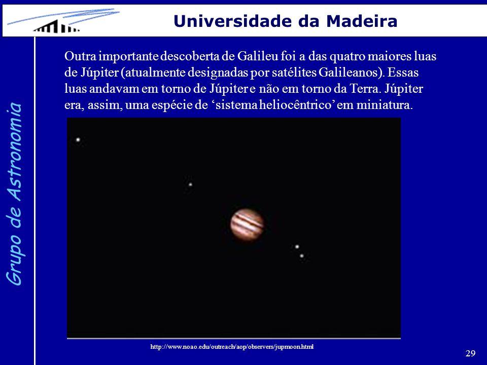 29 Grupo de Astronomia Universidade da Madeira Outra importante descoberta de Galileu foi a das quatro maiores luas de Júpiter (atualmente designadas