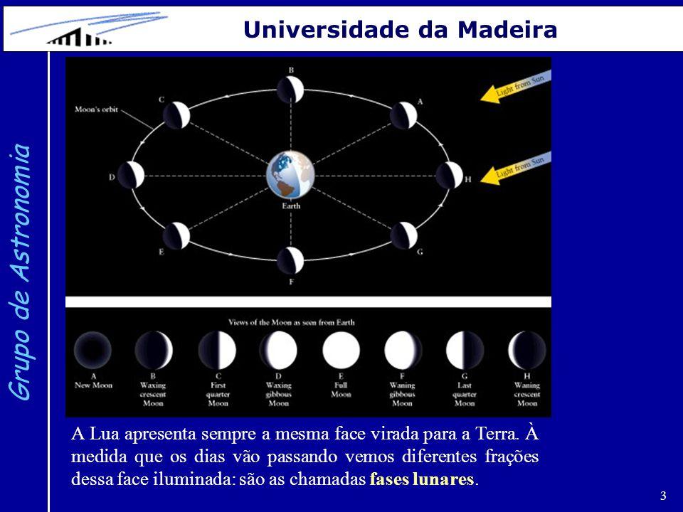 3 Grupo de Astronomia Universidade da Madeira A Lua apresenta sempre a mesma face virada para a Terra. À medida que os dias vão passando vemos diferen