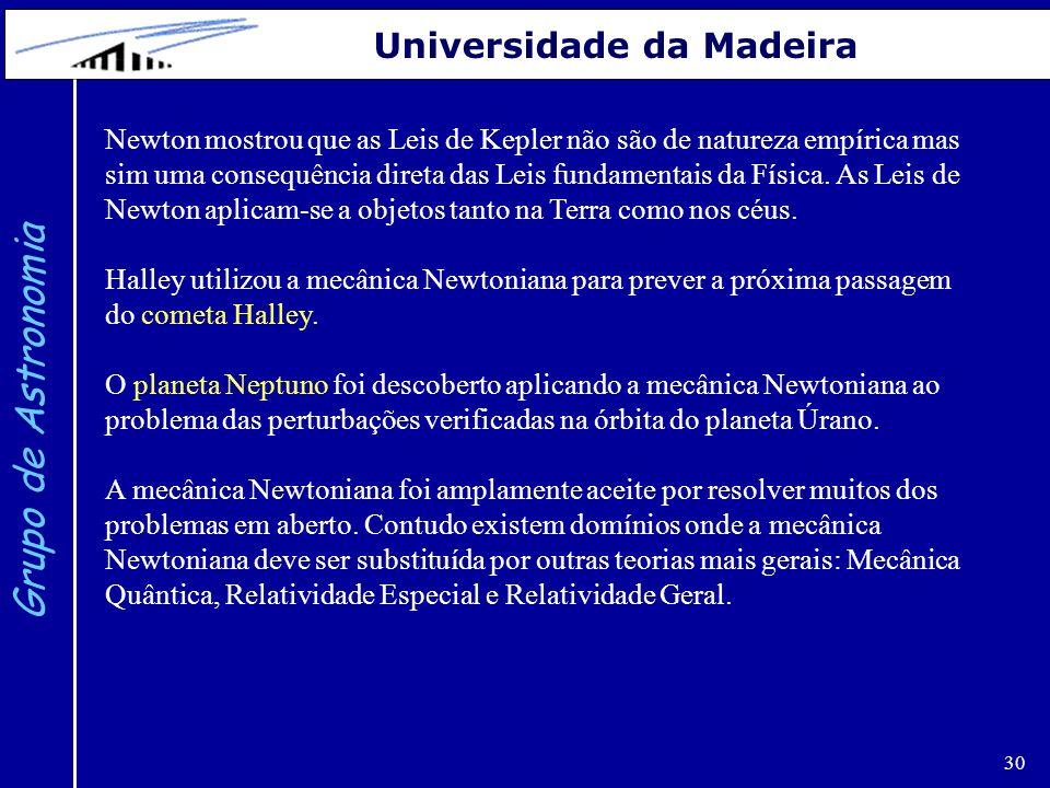 30 Grupo de Astronomia Universidade da Madeira Newton mostrou que as Leis de Kepler não são de natureza empírica mas sim uma consequência direta das L