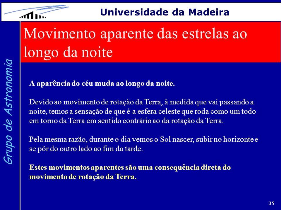 35 Grupo de Astronomia Universidade da Madeira Movimento aparente das estrelas ao longo da noite A aparência do céu muda ao longo da noite. Devido ao