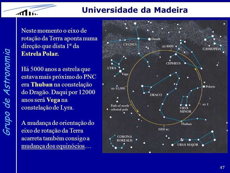 47 Grupo de Astronomia Universidade da Madeira Neste momento o eixo de rotação da Terra aponta numa direção que dista 1º da Estrela Polar. Há 5000 ano