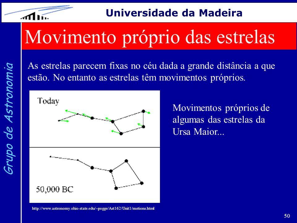 50 Grupo de Astronomia Universidade da Madeira Movimento próprio das estrelas As estrelas parecem fixas no céu dada a grande distância a que estão. No