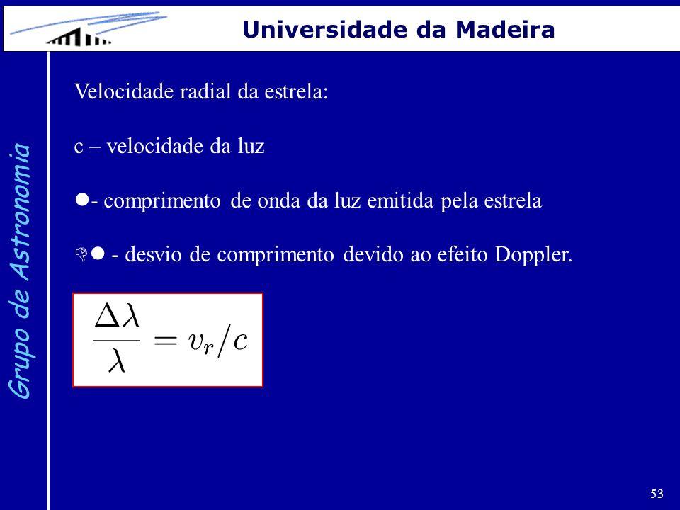 53 Grupo de Astronomia Universidade da Madeira Velocidade radial da estrela: c – velocidade da luz - comprimento de onda da luz emitida pela estrela -