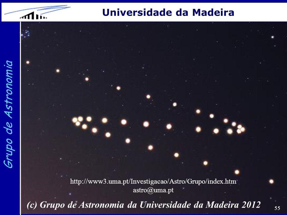 55 Grupo de Astronomia Universidade da Madeira (c) Grupo de Astronomia da Universidade da Madeira 2012 http://www3.uma.pt/Investigacao/Astro/Grupo/ind
