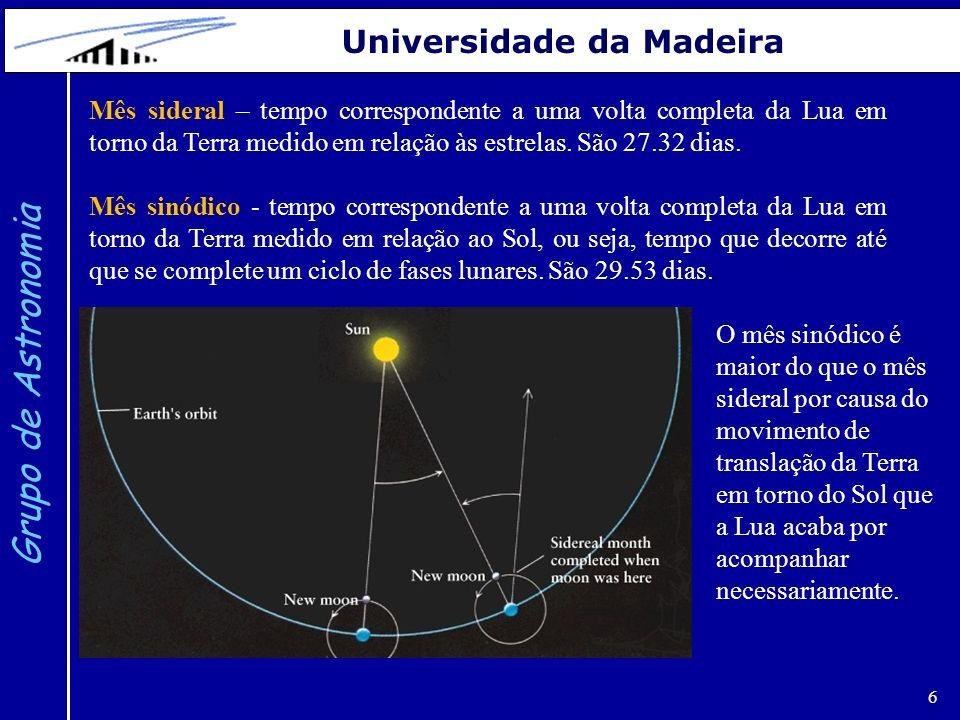6 Grupo de Astronomia Universidade da Madeira O mês sinódico é maior do que o mês sideral por causa do movimento de translação da Terra em torno do So