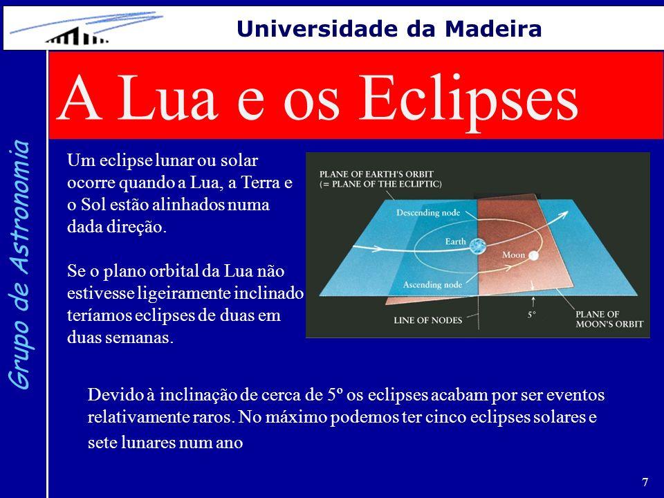 7 Grupo de Astronomia Universidade da Madeira A Lua e os Eclipses Um eclipse lunar ou solar ocorre quando a Lua, a Terra e o Sol estão alinhados numa