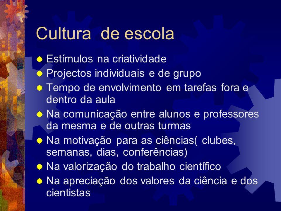 Cultura de escola Estímulos na criatividade Projectos individuais e de grupo Tempo de envolvimento em tarefas fora e dentro da aula Na comunicação ent