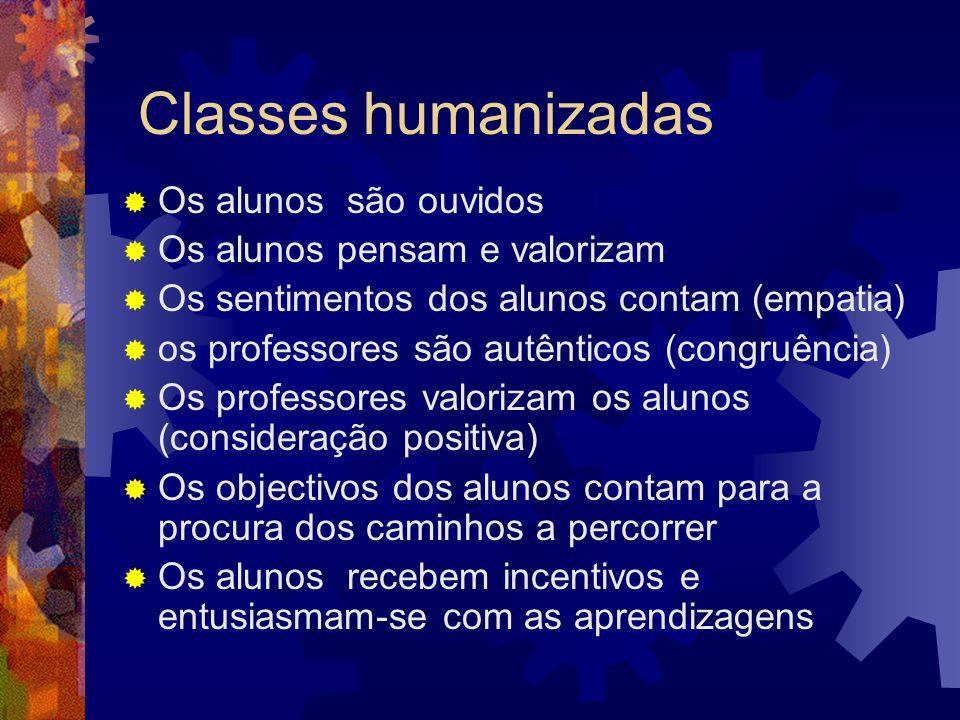 Classes humanizadas Os alunos são ouvidos Os alunos pensam e valorizam Os sentimentos dos alunos contam (empatia) os professores são autênticos (congr