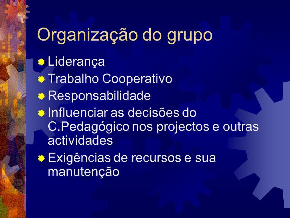 Organização do grupo Liderança Trabalho Cooperativo Responsabilidade Influenciar as decisões do C.Pedagógico nos projectos e outras actividades Exigên