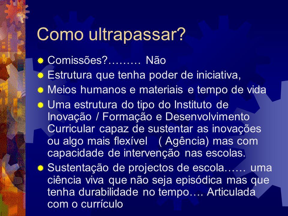 Como ultrapassar? Comissões?……… Não Estrutura que tenha poder de iniciativa, Meios humanos e materiais e tempo de vida Uma estrutura do tipo do Instit