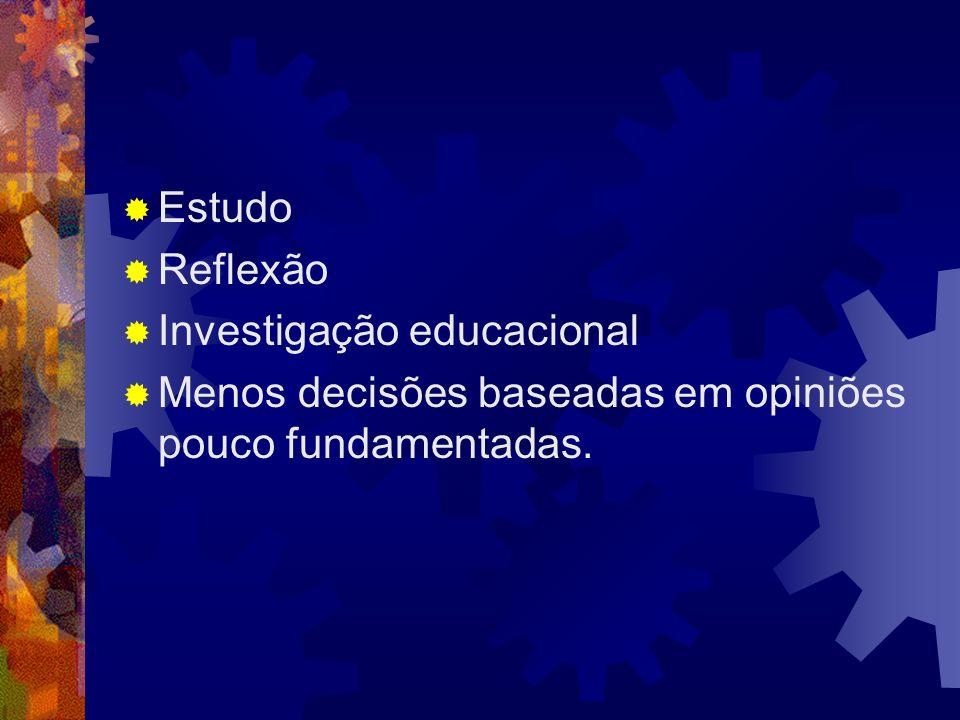 Estudo Reflexão Investigação educacional Menos decisões baseadas em opiniões pouco fundamentadas.