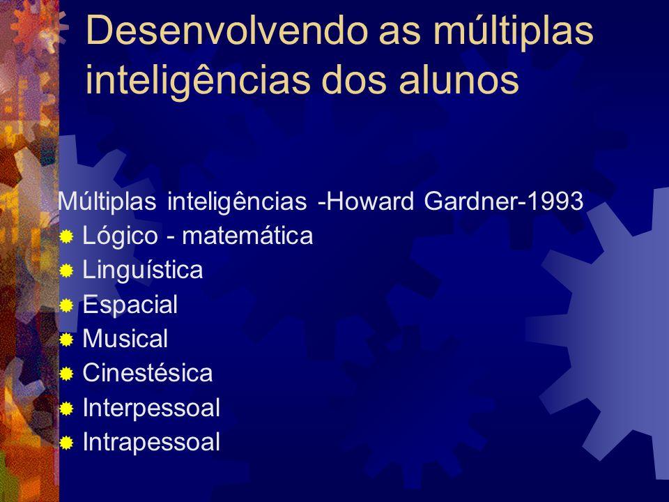 Desenvolvendo as múltiplas inteligências dos alunos Múltiplas inteligências -Howard Gardner-1993 Lógico - matemática Linguística Espacial Musical Cine