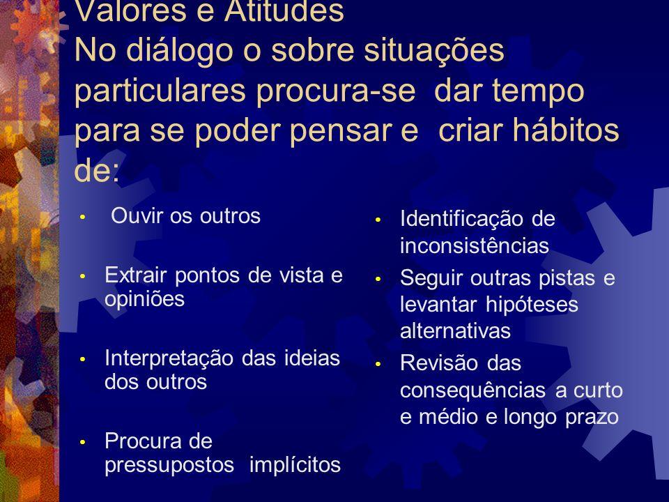 Valores e Atitudes No diálogo o sobre situações particulares procura-se dar tempo para se poder pensar e criar hábitos de: Ouvir os outros Extrair pon