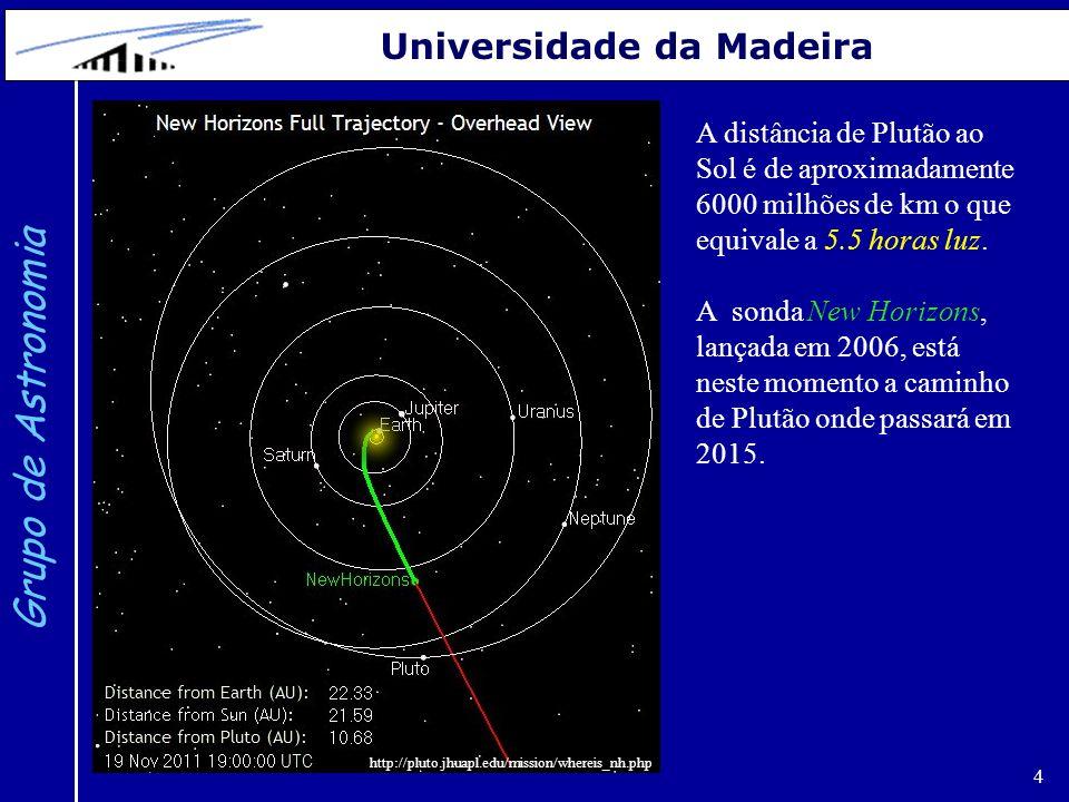 4 Grupo de Astronomia Universidade da Madeira http://pluto.jhuapl.edu/mission/whereis_nh.php A distância de Plutão ao Sol é de aproximadamente 6000 milhões de km o que equivale a 5.5 horas luz.