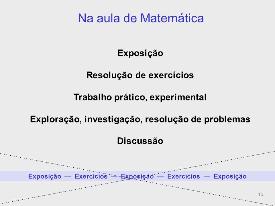 10 Na aula de Matemática (Mais do que exposição-exercícios) Exposição Resolução de exercícios Trabalho prático, experimental Exploração, investigação,