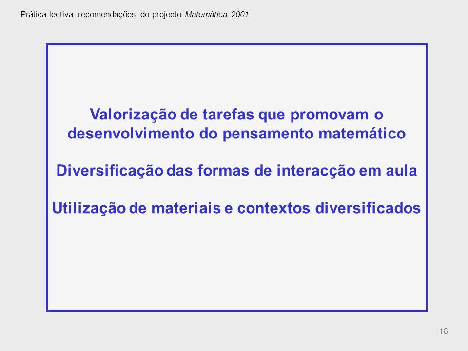 18 Prática lectiva: recomendações do projecto Matemática 2001 Valorização de tarefas que promovam o desenvolvimento do pensamento matemático Diversifi